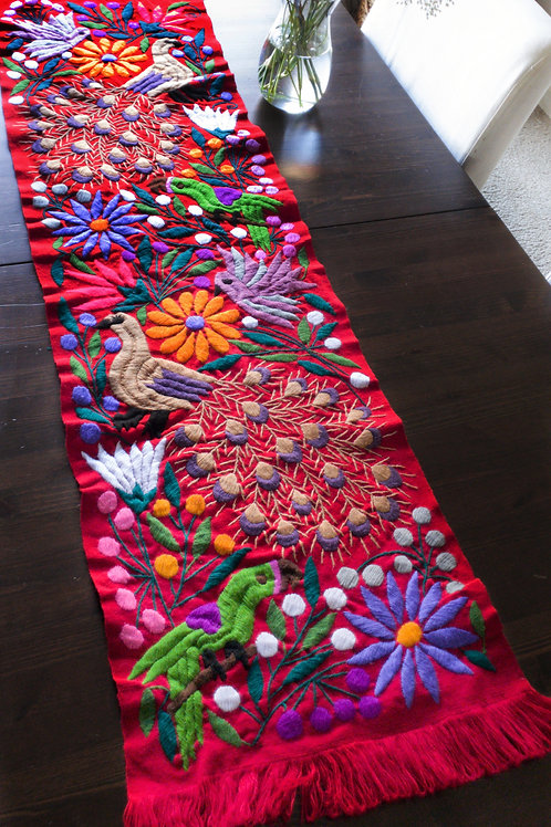 Table Runner Red tone Hand-woven and embroaidered, with Peacocks