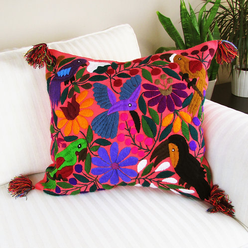 Chiapas Pillow Cover Coral color fabric with colorful birds, animals and flowe