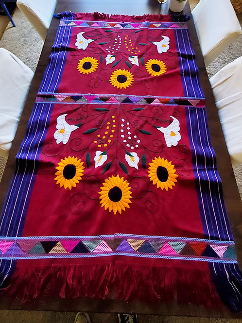 Mexican Tablecloth, sunflower table cloth, mexican embroidery, sunflower hand-embroidered, maya textile, mexican decor,
