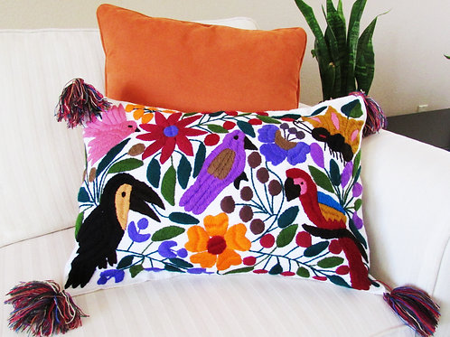Chiapas Pillow Lumbar Cover White fabric with colorful birds, animals and flower