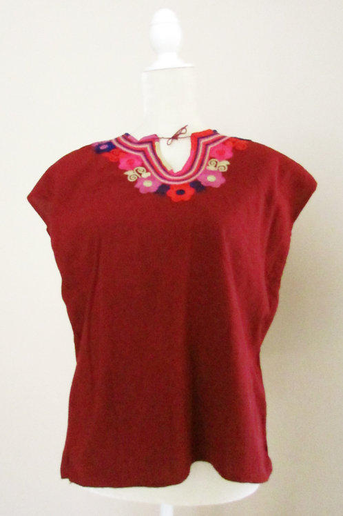 mexican textile, mexican blouse, blouse handmade, blouse red wine, mexican fabric, chiapas fabric,