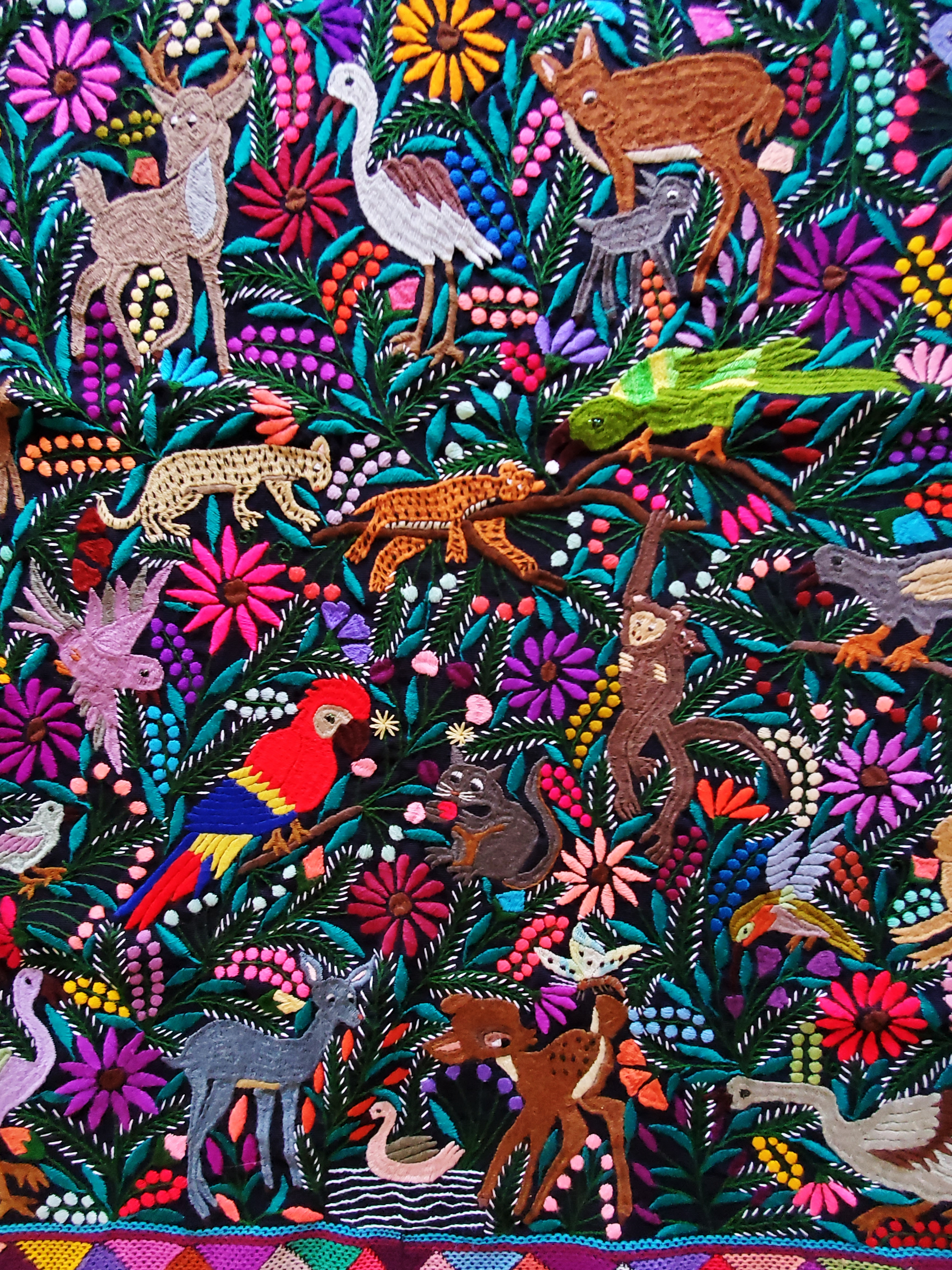 mexican jungle embroidered fabric, maya textile, mexican embroidered fabric, mexican crewel work, me