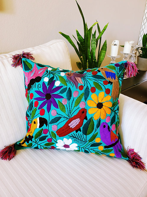 Chiapas Pillow Blue-green tone animal floral pattern hand embroidered