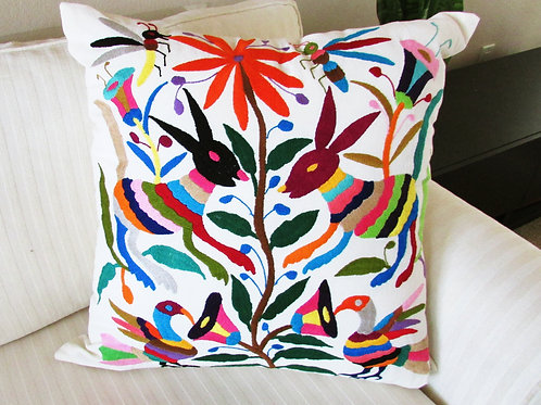 """of Otomi Pillow Cover 22""""x22"""" multicolor hand embroidered on natural color"""