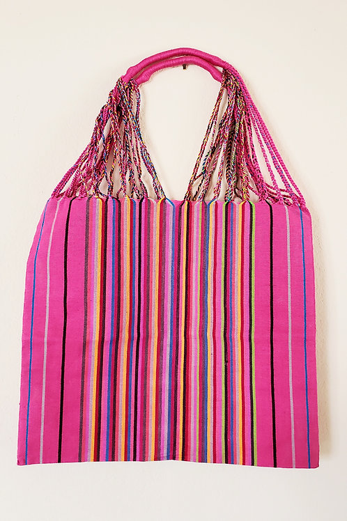 Chiapas tote, pink, handmade, hand embroidery, Mexico, hand woven, tote
