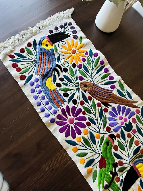 Mexican Table runner, Toucan table runner, maya textile, mexican textile, mexican embroidered, toucan upholstery fabric,