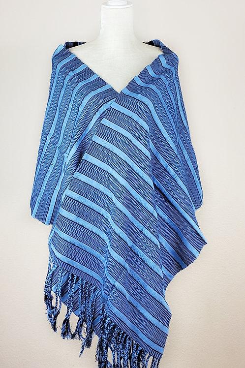 Rebozo or Shawl blues combination, handwoven in backstrap loom