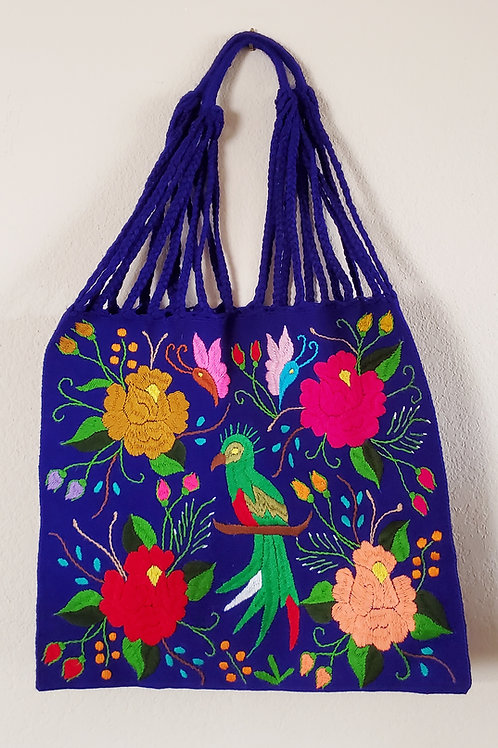 Chiapas tote color blue tone handmade wove in backstrap loom bag hand e