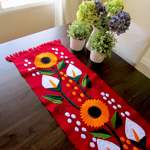 table runner red, mexican textile, mayan textile, mexican hand made, mexican crewel embroidery,  chiapas fabric, sun flower,m
