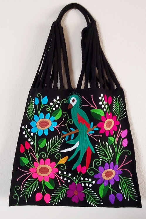 Mexican morral, mexican embroidered, mexican tote, embroidered bag, maya embroidered bag, mexican textile, quetzal embroidery