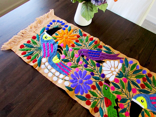 Mexican table runner, tucans runner, mexican embroidery, mexican textile, mexican decor, mexican tapestry, maya textiles