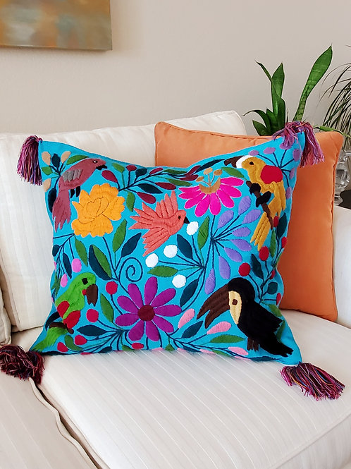 Chiapas Pillow Cover, Blue turquoise tone fabric with birds and flowers hand e