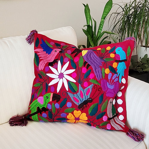Chiapas Pillow Red tone with birds and flowers hand embroidered