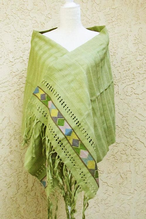 rebozo, mexican textile, mexican fabric, handmade shawl, hand woven shawl, shawl green pistacho, mexican apparel, striped