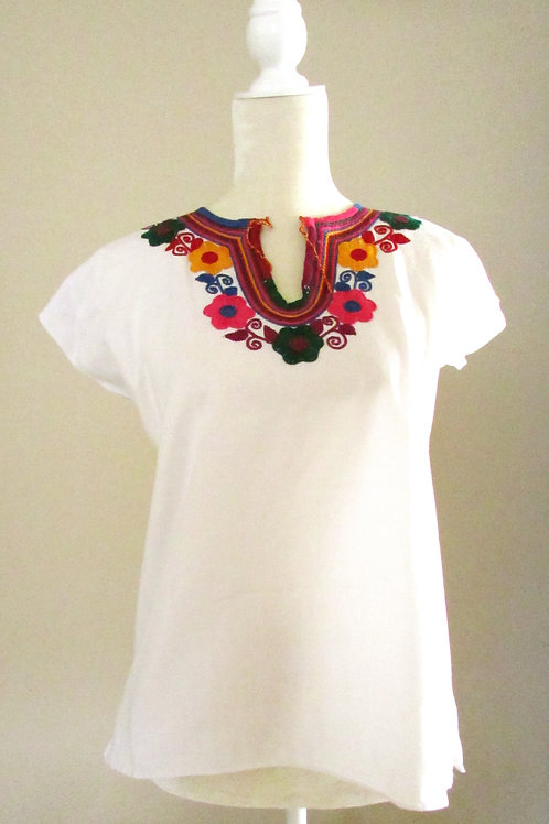 blouse white , blouse handmade, mexican textile, mexican blouse, colorful, mexican crewel embroidered, mexican fabric, blouse