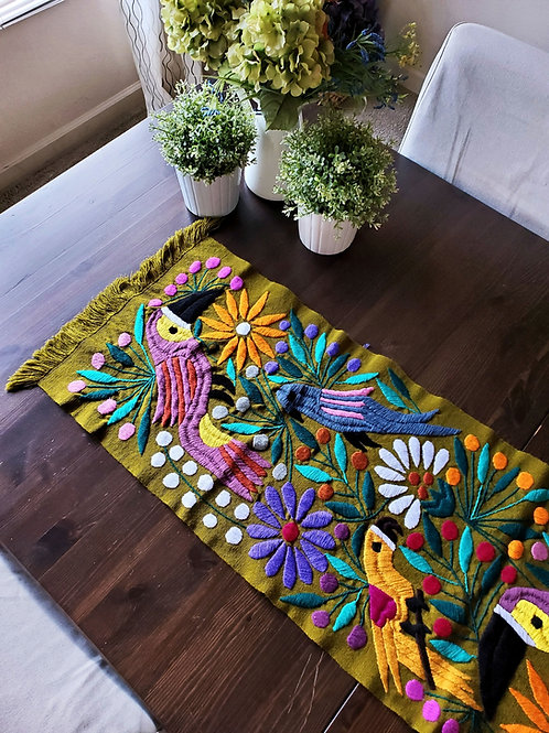 mexican table runner, mexican hand embroidery, table runner green olive, mexican fabric, maya textile, toucans, flowers and b