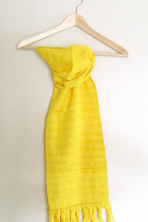 chiapas, scarf yellow, hand woven, mexican fabric, mexican embroidery.
