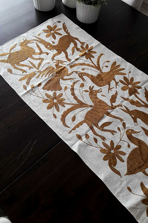 manta, mexican hand embroidery, table runner yellow gold, otomi hand made, otomi fabric, yellow gold, otomi crewel embroidery