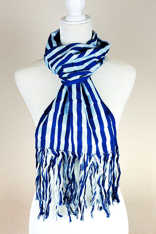 Scarf woven in Blue and White, handwoven in backstrap loom