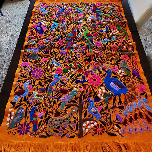 Mexican tapestry, mexican hand embroidered, Animal pattern tapestry, handembroidered tapestry, mayan fabric, mexican textile,