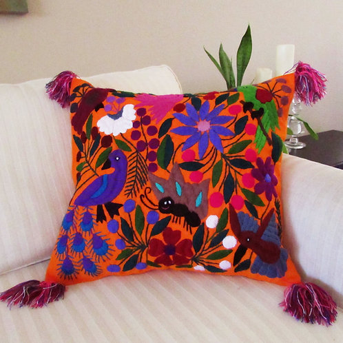 colorful birds, flowers and animals, chiapas embroidered, mexican fabric, mexican embroidery, chiapas hand made, pillow orang