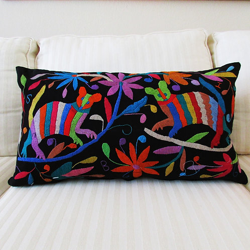 "Pillow Cover Lumbar 16""x24"" Multicolor embroidered on black fabric."