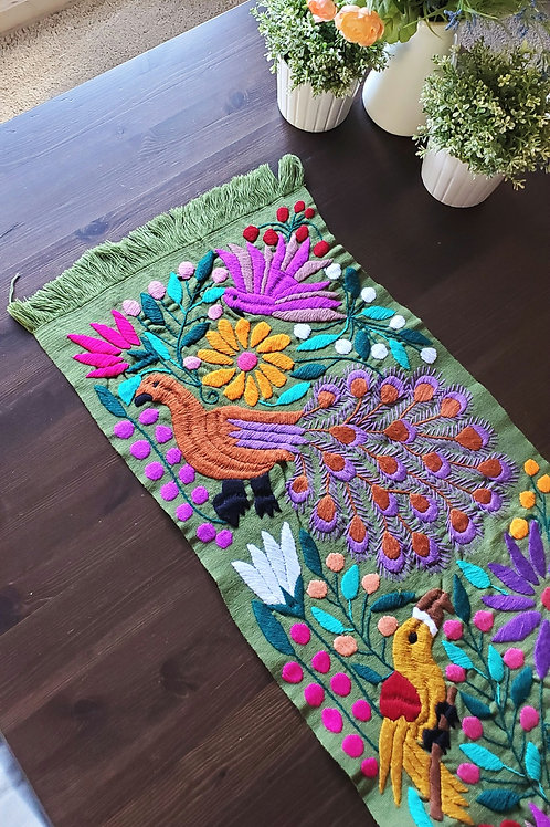 Table Runner woven in backstrap loom, fabric color sage green with peacocks