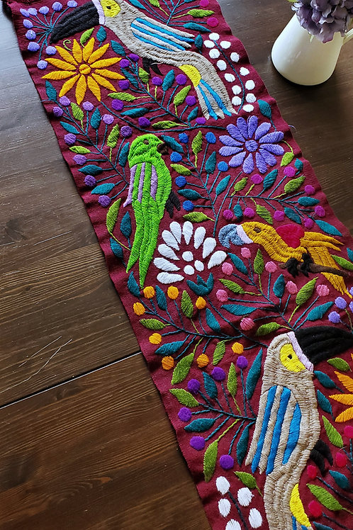 Table Runner, deep red, hand embroidered with Toucans, birds and f
