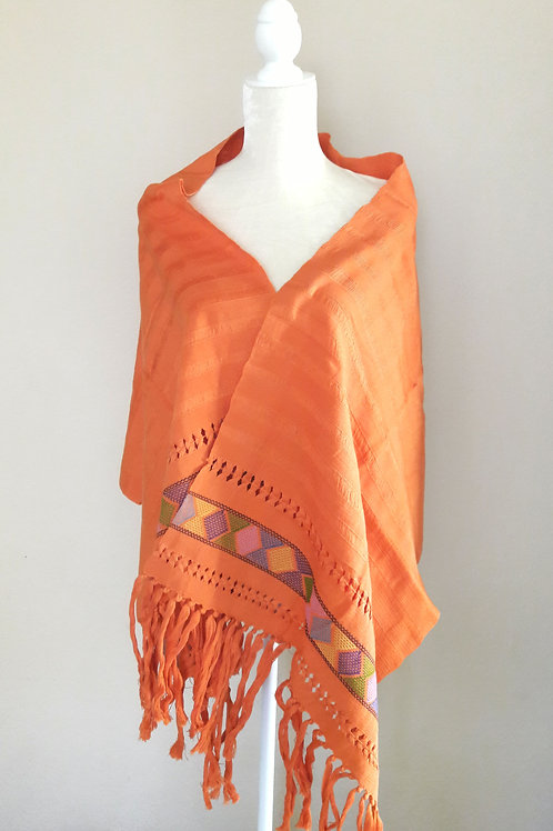 Rebozo or Shawl tangerine color, hand woven in back strap loom from Chiapas