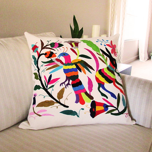 pillow hand made, pillow colorful ,mexican fabric, mexican embroidery, mexican pillow , otomi pillow, otomi fabric, pillow