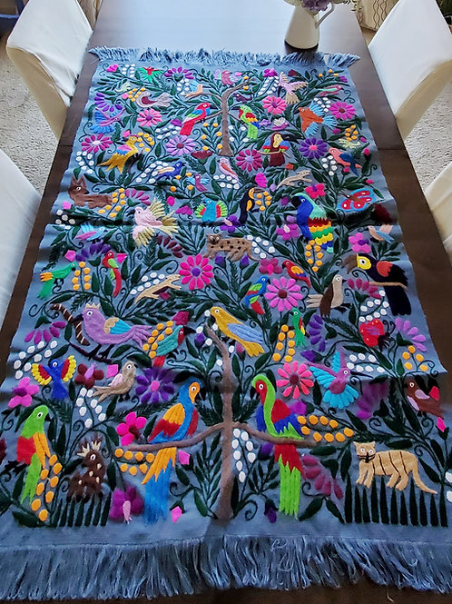 Dark gray-bue tone Chiapas' jungle animals, tapestry  hand-made embroidered