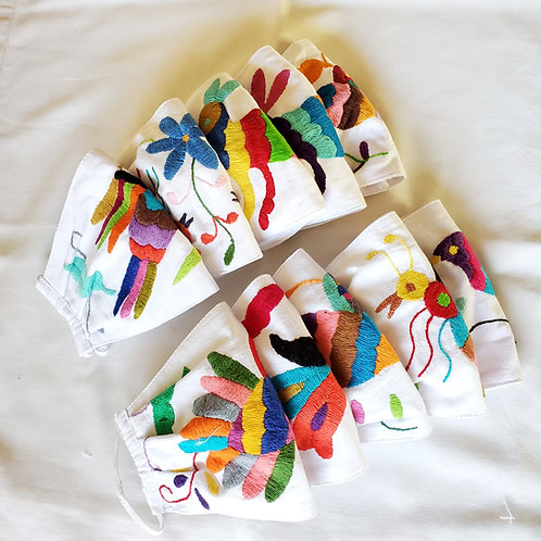 Otomi facemask, hand embroidered facemask, Mexican facemask, handmade facemask, multicolor embroidered facemask, facemask
