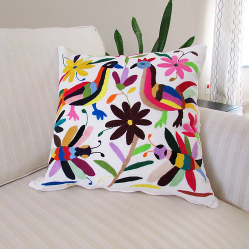 otomi pillow cover,  otomi fabric, pillow cover, mexican embroidery, mexican textile, mexican pillow, pillow multicolor