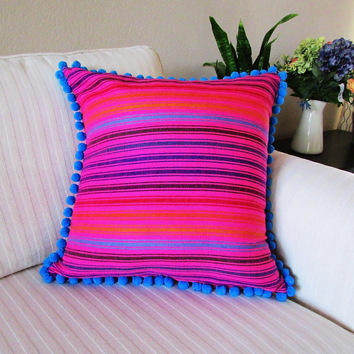 "Pillow cover 18""x18"" Mexican fabric pink with multicolor lines and blue pompoms"