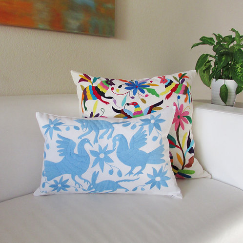 "Otomi Lumbar Pillow Cover 20""x13"" Light blue on white cotto fabric."