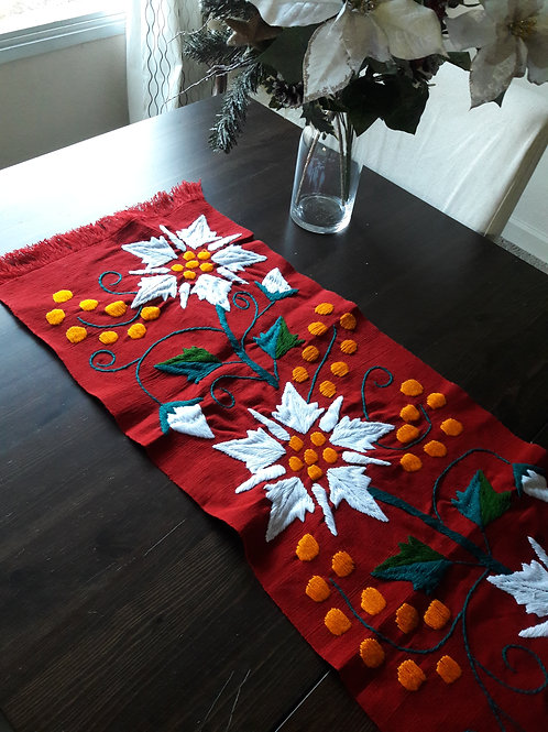 mexican table runner, poinsettia color red, mexican fabric, mexican hand-embroidery, mexican crewel embroidered.