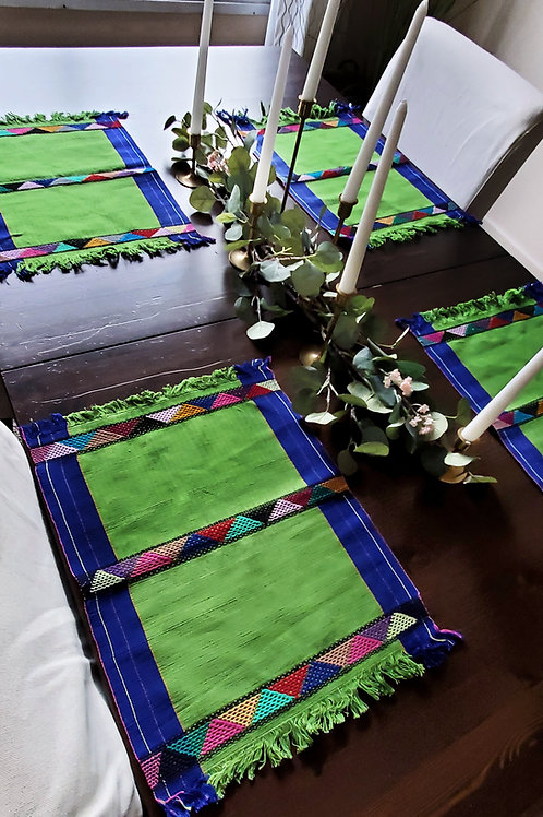 naturaleza, green, placemats, birds, animals, flowers, mayan, mexican, mexico, textile, hand woven, hand made