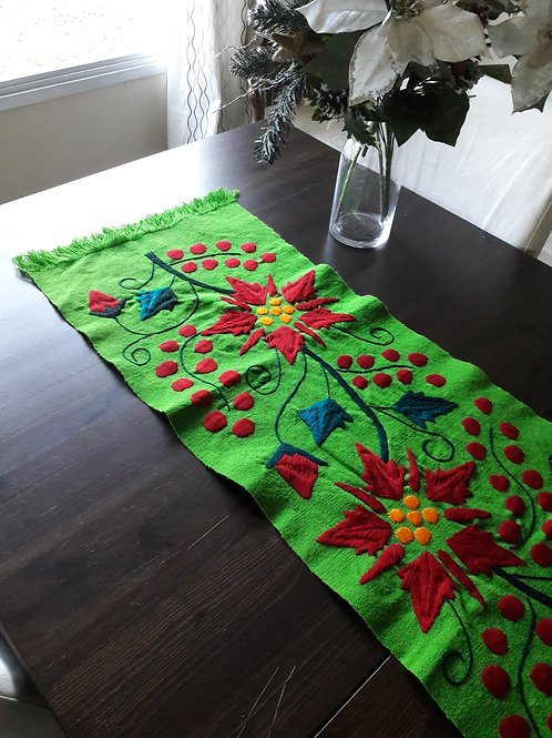 poinsettia handmade, mexican fabric, mexican crewel embroidered,table runner woven.