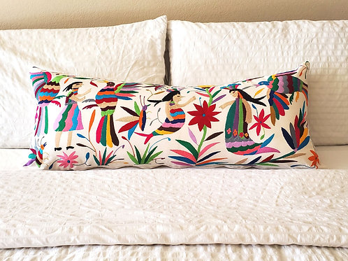 """Otomi Lumbar Pillow Cover 37""""x15""""multicolor embroidered on manta fabric."""