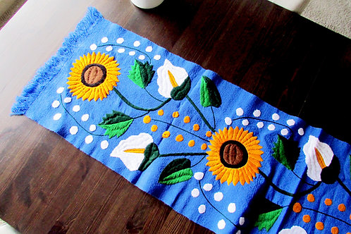 tapestry, table runner blue, sunflower, mexican hand embroidery, mexican tapestry, mexican textile, mexican fabric, chiapas