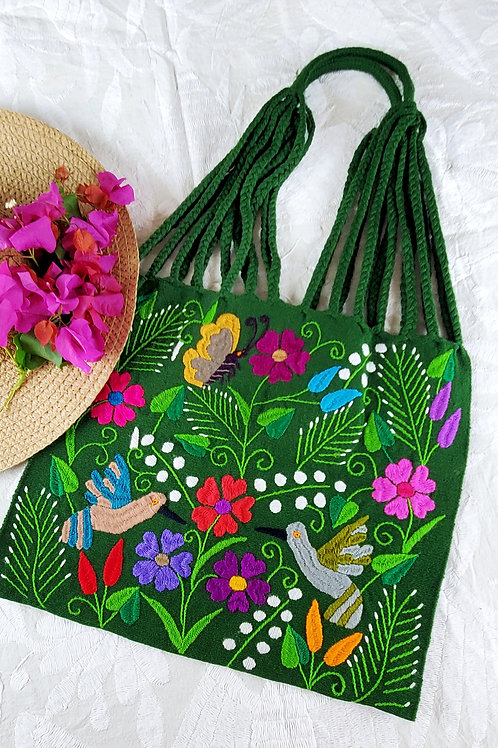 Chiapas tote color green handmade wove in backstrap loom bag hand embor