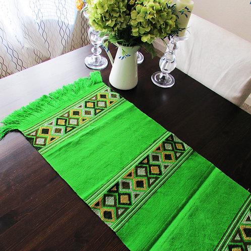 Green table runner, mexican table runner, mexican textile, maya backtrap loom, mexican linens, mexican fabrics, home decor,
