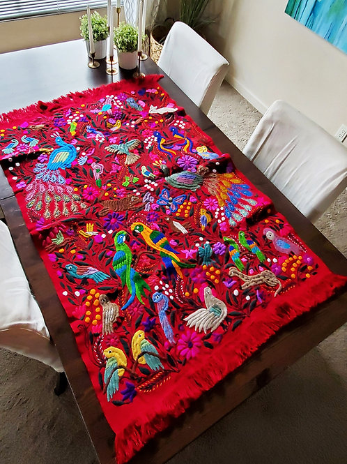 Red Tapestry, wove in backstrap loom, embroidered with Chiapas' jungle