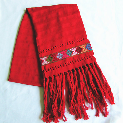Rebozo or Shawl red, hand-woven.