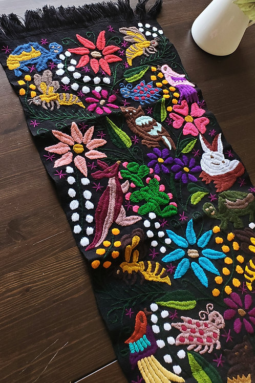 Table Runner, blck hand embroidered with animals, birds and f