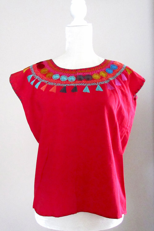 red blouse, blouse han embroidery, mexican crewel embroidered, mexican textile, mexican blouse, blouse colorful, mexican fabr