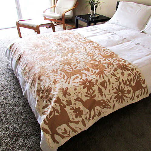 bedspread, full queen, otomi embroidery, mexican fabric, mexican crewel embroidered, mexican bedspread, otomi fabric