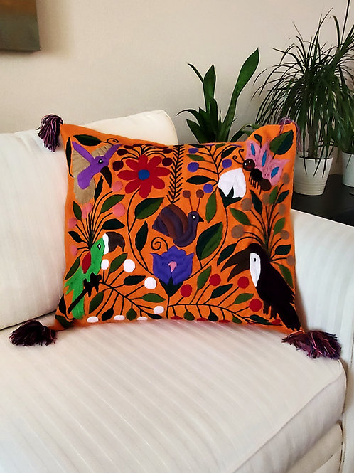 Chiapas Pillow Cover, Orange tone fabric with birds and flowers