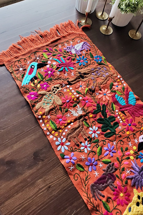 Table Runner Chedron- brick Hand-woven and embroidered with little animals and