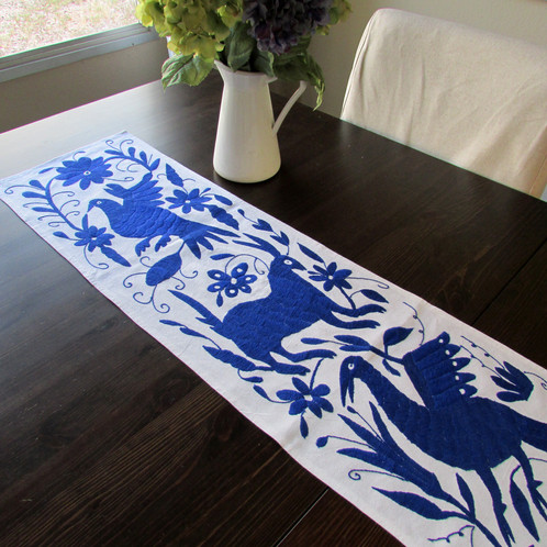 Otomi Table Runner Embroidered On Beautiful Color Navy Blue, This Beautiful  Piece Has Been Hand Embroidered For A Woman From The Highlands Of Hidalgo,  ...